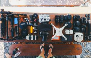 mutiple cameras and drones for photography