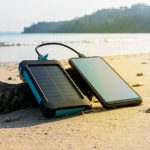 Portable solar panel is on the beach
