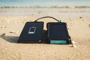 Portable Solar Power Bank on the Beach