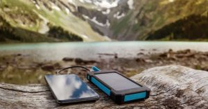 solar phone charger outdoors