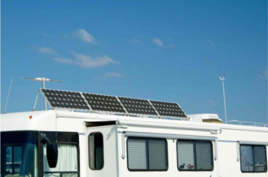 solar panels titling on a campers roof