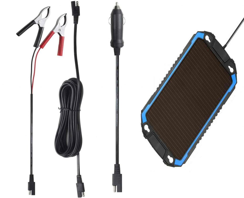 Solar Charger with Cigarette Lighter, Alligator Clips and SAE Connector