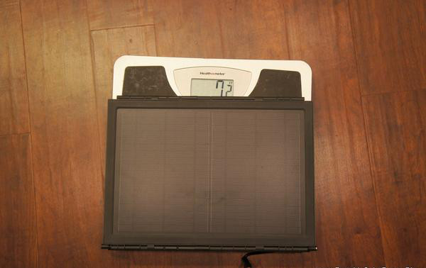 Solar panel on a weigh scale