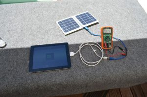 Solar Panel connected to iPad and Ammetre